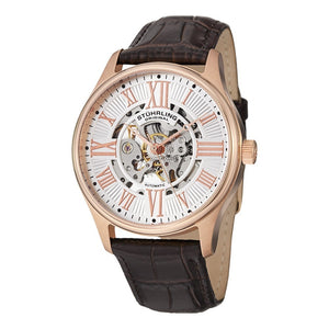 Stuhrling Atrium Automatic Rose Tone Case Brown Leather Strap Men's Watch