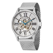 Load image into Gallery viewer, Stuhrling Atrium Elite Automatic Silver Tone Skeletonized Dial Mesh Bracelet Men's Watch