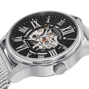 Stuhrling Atrium Elite Automatic Black Skeletonized Dial Mesh Bracelet Men's Watch