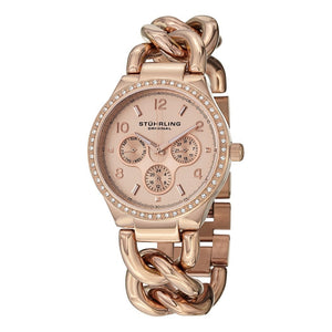 Stuhrling Lady Renoir Shine Quartz Rose Tone Chain Bracelet Women's Watch