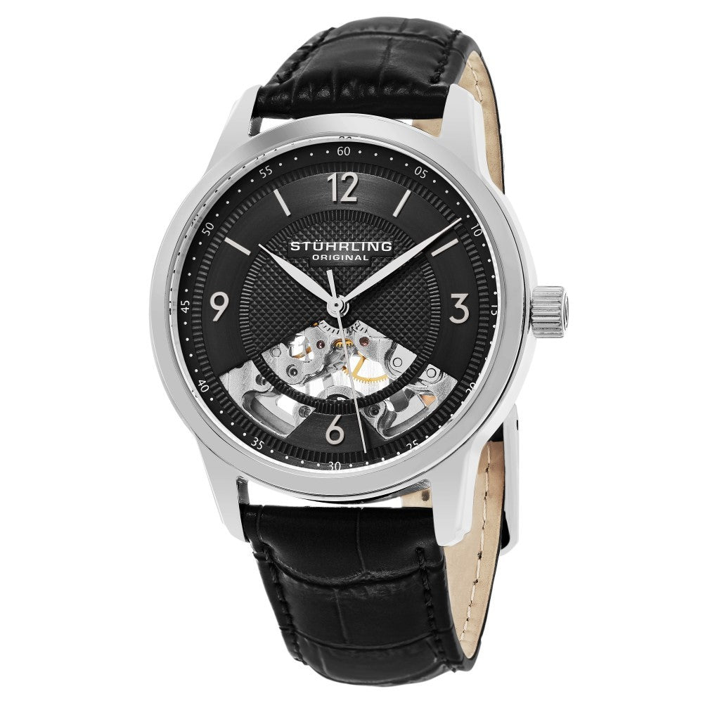 Stuhrling Legacy 977 Mechanical Semi-Skeletonized Black Case Men's Watch