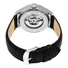 Load image into Gallery viewer, Stuhrling Delphi 992 Automatic Silver Tone Case Black Leather Strap Men's Watch