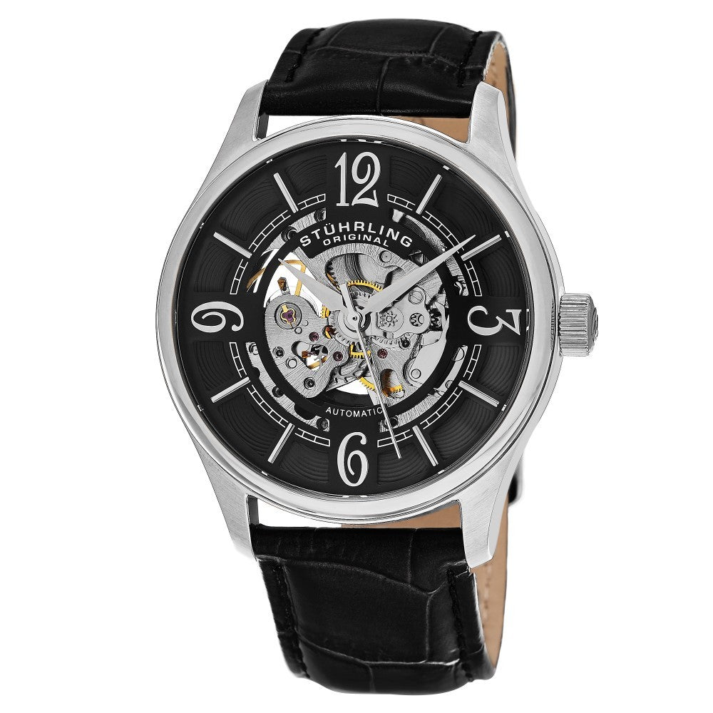 Stuhrling Delphi 992 Automatic Silver Tone Case Black Leather Strap Men's Watch