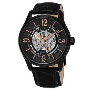 Stuhrling Delphi 992 Automatic Black Case Black Leather Strap Men's Watch