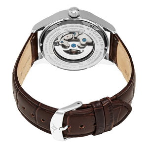Stuhrling Delphi 992 Automatic Silver Tone Case Brown Leather Strap Men's Watch