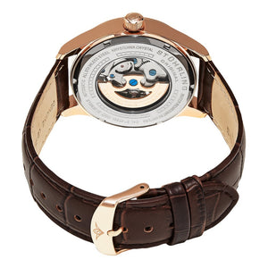 Stuhrling Delphi 992 Automatic Rose Tone Case Brown Leather Strap Men's Watch
