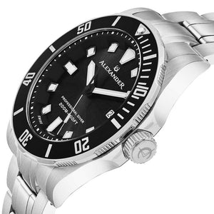 Alexander Vathos Swiss Quartz Black Dial Silver Tone Bracelet Men's Diver Watch