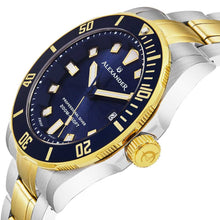 Load image into Gallery viewer, Alexander Vathos Quartz Blue Dial Two Tone Bracelet Men's Diver Watch