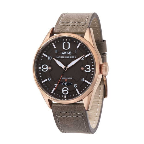 AVI-8 Hawker Harrier II Automatic Brown Leather Strap Men's Watch