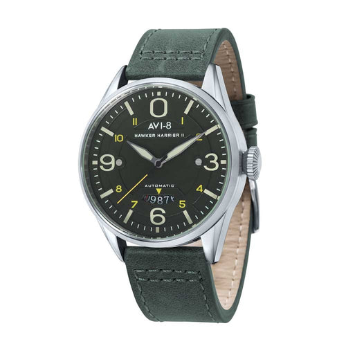 AVI-8 Hawker Harrier II Automatic Green Leather Strap Men's Watch
