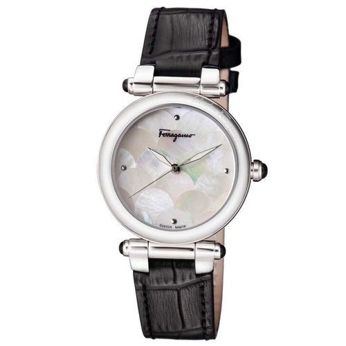 Ferragamo Women's Idillio Leather Strap White MOP Dial Watch