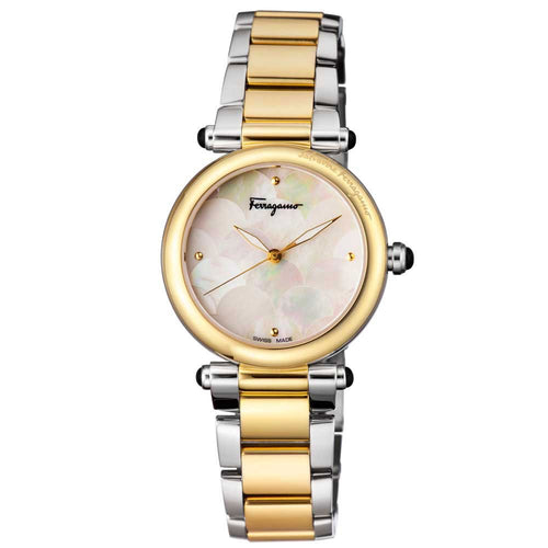 Ferragamo Women's Idillio Two Tone Bracelet White MOP Dial Watch