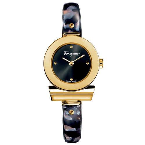 Ferragamo Women's Gancino Bracelet Black Dial Watch