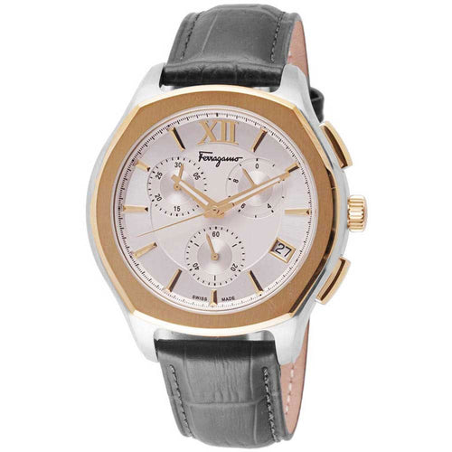 Ferragamo Men's Lungarno Chrono Silver Dial Leather Strap Watch