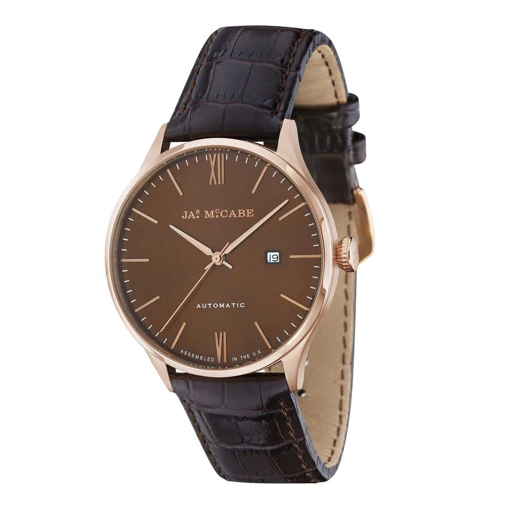 James-McCabe London Automatic Brown Dial Rose Gold Tone Men's Watch
