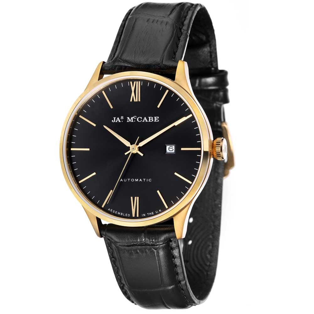 James-McCabe London Automatic Black Dial Gold Tone Men's Watch
