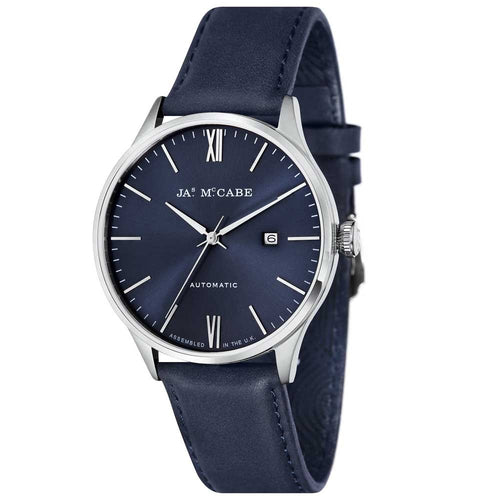 James-McCabe London Automatic Blue Dial Stainless Steel Men's Watch