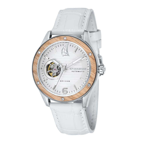 Spinnaker Sorrento Automatic White Dial White Leather Strap Men's Watch