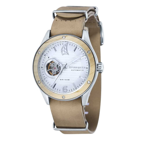 Spinnaker Sorrento Automatic White Dial Leather Strap Men's Watch