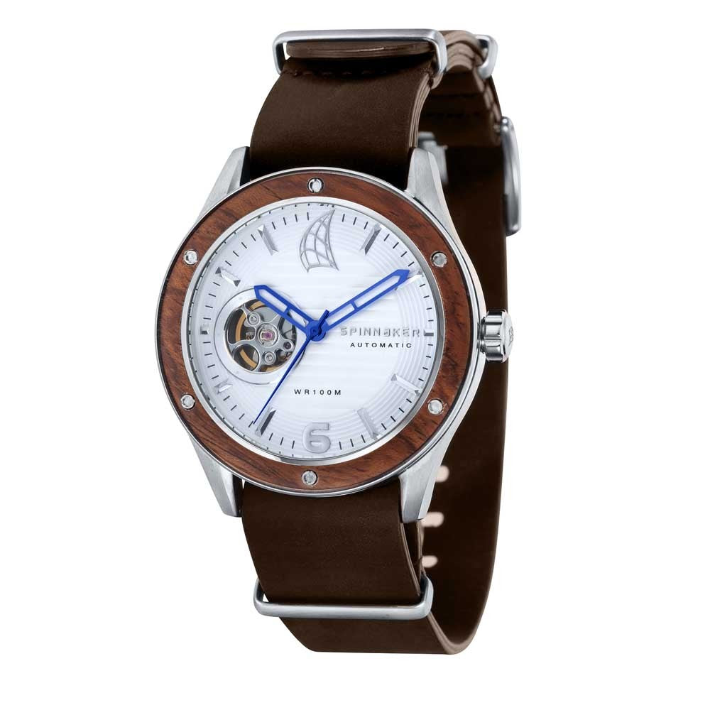 Spinnaker Sorrento Automatic White Dial Brown Leather Strap Men's Watch