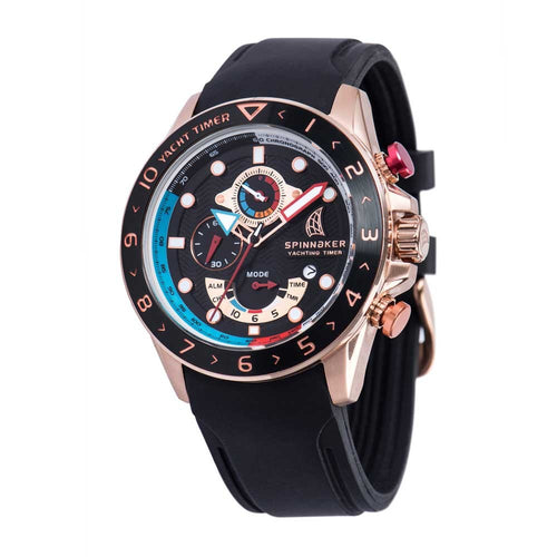 Spinnaker Amalfi Black Dial Black Silicon Strap Chronograph Men's Watch