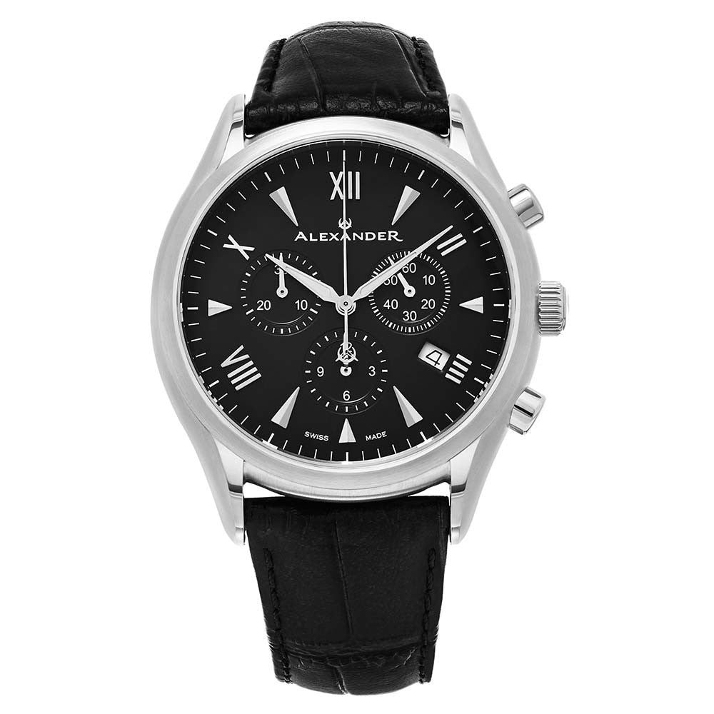 Alexander Mens Multifunction Chronograph Quartz Watch with Stainless Steel Case on Black Embossed Genuine Leather Strap, Black Dial