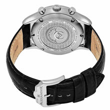 Load image into Gallery viewer, Alexander Mens Multifunction Chronograph Quartz Watch with Stainless Steel Case on Black Embossed Genuine Leather Strap, Silver Dial