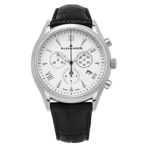 Alexander Mens Multifunction Chronograph Quartz Watch with Stainless Steel Case on Black Embossed Genuine Leather Strap, Silver Dial