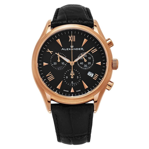 Alexander Mens Multifunction Chronograph Quartz Watch with Stainless Steel Rose Gold Tone Case on Black Embossed Genuine Leather Strap, Black Dial