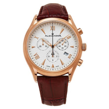 Load image into Gallery viewer, Alexander Mens Multifunction Chronograph Quartz Watch with Stainless Steel Rose Gold Tone Case on Brown Embossed Genuine Leather Strap, Silver Dial