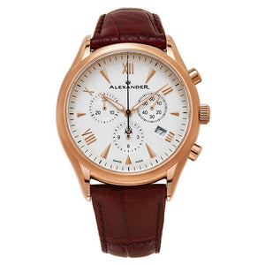 Alexander Mens Multifunction Chronograph Quartz Watch with Stainless Steel Rose Gold Tone Case on Brown Embossed Genuine Leather Strap, Silver Dial