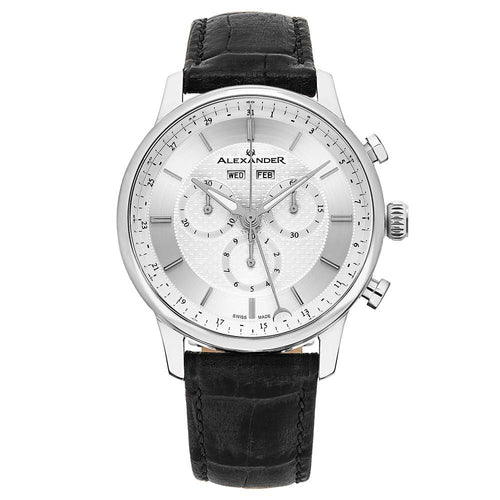 Alexander Mens Quartz Chronograph Multifunction Watch with Stainless Steel Case on Black Embossed Genuine Leather Strap, Silver-patterned Dial