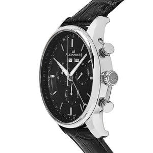 Alexander Mens Quartz Chronograph Multifunction Watch with Stainless Steel Case on Black Embossed Genuine Leather Strap, Black-patterned Dial