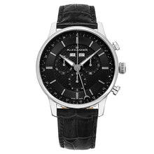 Load image into Gallery viewer, Alexander Mens Quartz Chronograph Multifunction Watch with Stainless Steel Case on Black Embossed Genuine Leather Strap, Black-patterned Dial