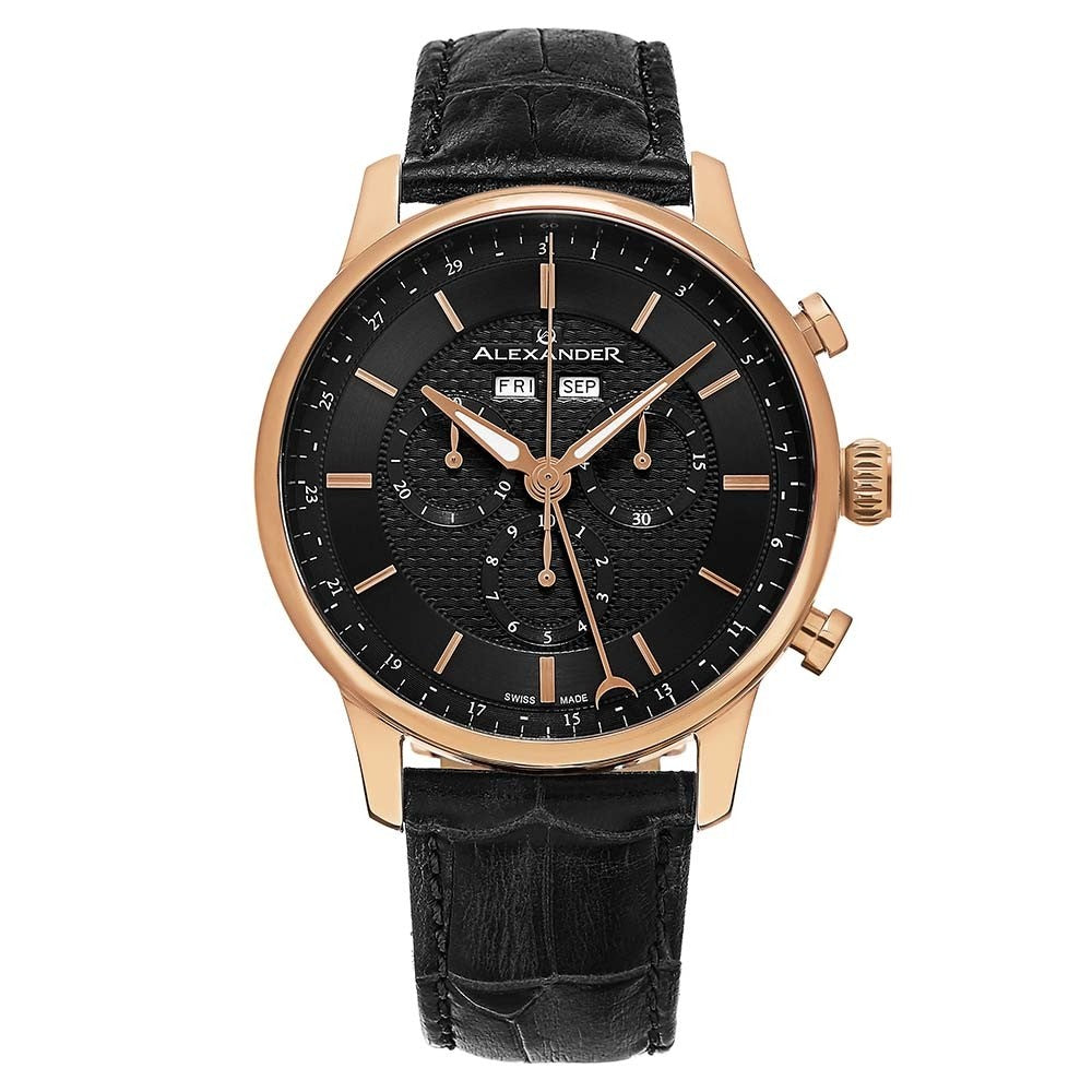 Alexander Mens Quartz Chronograph Multifunction Watch with Rose Gold Tone Stainless Steel Case on Black Embossed Genuine Leather Strap, Black-patterned Dial