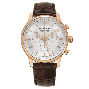 Alexander Mens Quartz Chronograph Multifunction Watch with Rose Gold Tone Stainless Steel Case on Black Embossed Genuine Leather Strap, Silver-patterned Dial