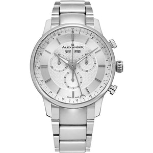Alexander Mens Quartz Chronograph Multifunction Watch with Stainless Steel Case on Stainless Steel bracelet, Silver-patterned Dial