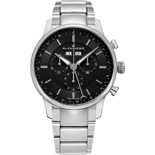 Alexander Mens Quartz Chronograph Multifunction Watch with Stainless Steel Case on Stainless Steel bracelet, Black-patterned Dial