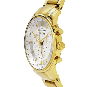 Alexander Mens Quartz Chronograph Multifunction Watch with Yellow Gold Tone Stainless Steel Case on Yellow Gold Tone Stainless Steel Bracelet, Silver-patterned Dial