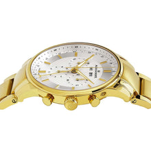 Load image into Gallery viewer, Alexander Mens Quartz Chronograph Multifunction Watch with Yellow Gold Tone Stainless Steel Case on Yellow Gold Tone Stainless Steel Bracelet, Silver-patterned Dial