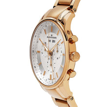 Load image into Gallery viewer, Alexander Mens Quartz Chronograph Multifunction Watch with Rose Gold Tone Stainless Steel Case on Rose Gold Tone Stainless Steel Bracelet, Black-patterned Dial