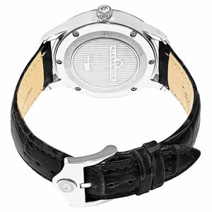 Alexander Mens Quartz Watch with Stainless Steel Case on Black Embossed Genuine Leather Strap, Silver-patterned Dial