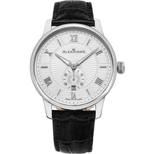 Load image into Gallery viewer, Alexander Mens Quartz Watch with Stainless Steel Case on Black Embossed Genuine Leather Strap, Silver-patterned Dial