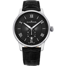 Load image into Gallery viewer, Alexander Mens Quartz Watch with Stainless Steel Case on Black Embossed Genuine Leather Strap, Black-patterned Dial