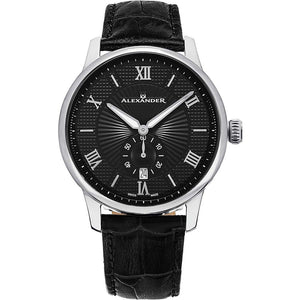 Alexander Mens Quartz Watch with Stainless Steel Case on Black Embossed Genuine Leather Strap, Black-patterned Dial