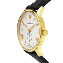 Load image into Gallery viewer, Alexander Mens Quartz Watch with Yellow Gold Tone Stainless Steel Case on Black Embossed Genuine Leather Strap, Silver-patterned Dial