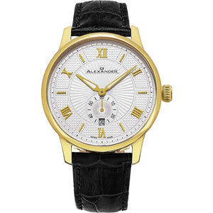 Alexander Mens Quartz Watch with Yellow Gold Tone Stainless Steel Case on Black Embossed Genuine Leather Strap, Silver-patterned Dial