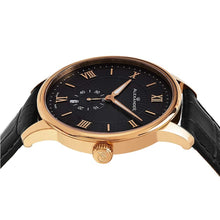 Load image into Gallery viewer, Alexander Mens Quartz Watch with Rose Gold Tone Stainless Steel Case on Black Embossed Genuine Leather Strap, Black-patterned Dial