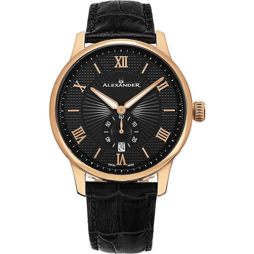 Alexander Mens Quartz Watch with Rose Gold Tone Stainless Steel Case on Black Embossed Genuine Leather Strap, Black-patterned Dial