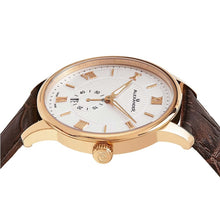 Load image into Gallery viewer, Alexander Mens Quartz Watch with Rose Gold Tone Stainless Steel Case on Brown Embossed Genuine Leather Strap, Silver-patterned Dial